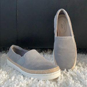 Clarks Jute trim gray Marie Sail sneakers slip on